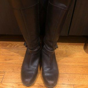 Bandolino Tall Brown Leather Riding Boots, Size 9